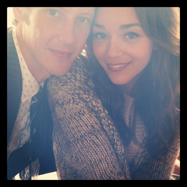 Ashley Madekwe and Gabriel Mann posed for photos while shooting Revenge. Source: Instagram user smashleybell