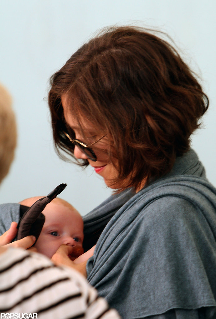 Baby Gloria Sarsgaard peeked out from her carrier with mom Maggie Gyllenhaal in NYC.