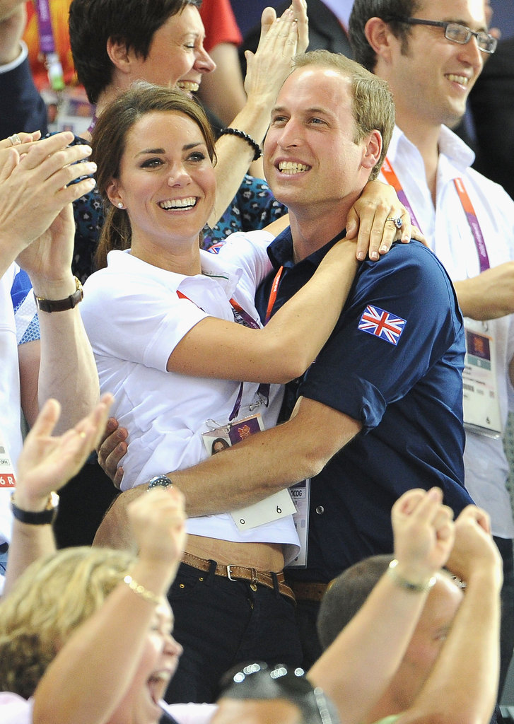 Kate Middleton hugged Prince William at the Olympics.