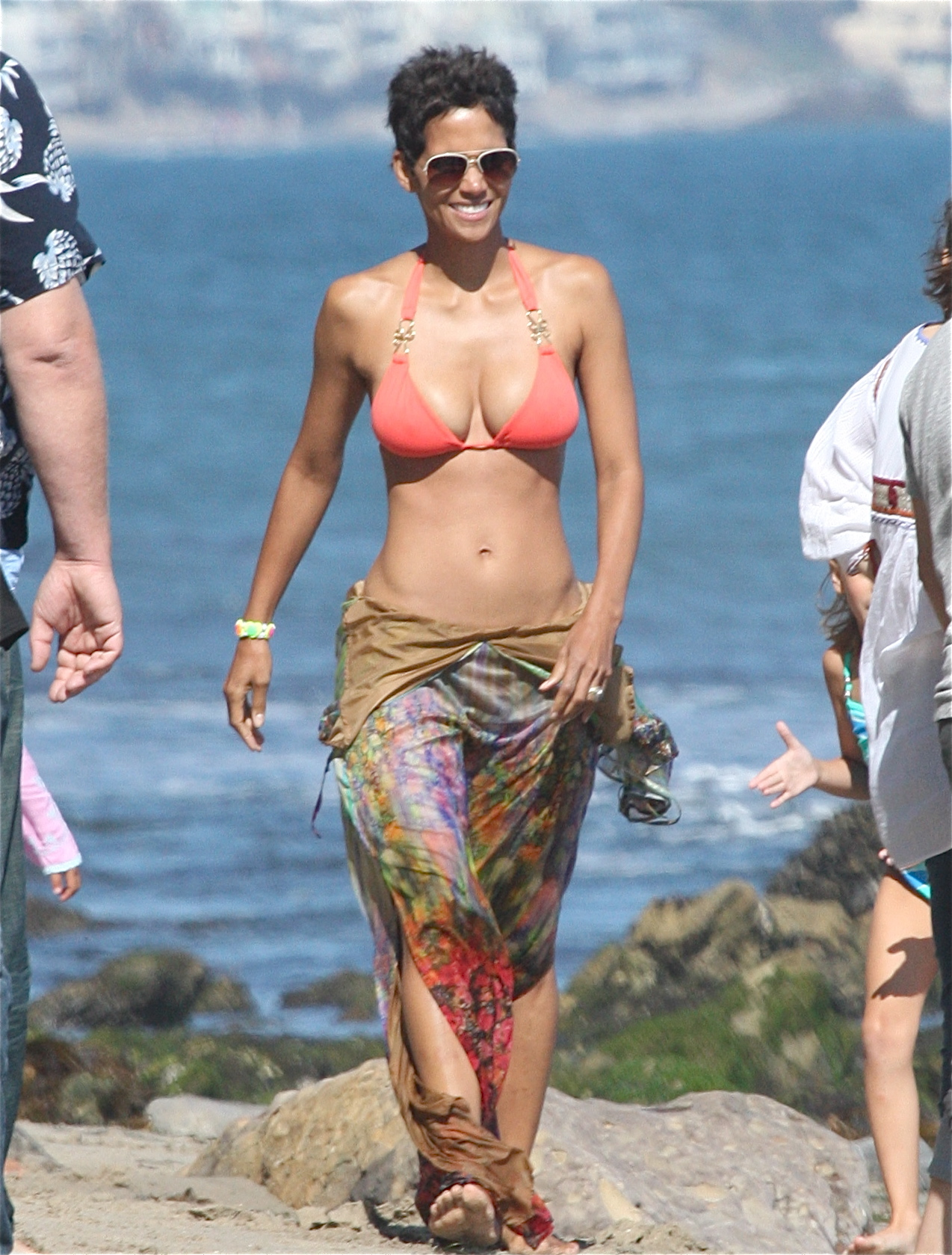 Halle hit the beach in Malibu wearing a sexy bikini on her 45th birthday in 2011.