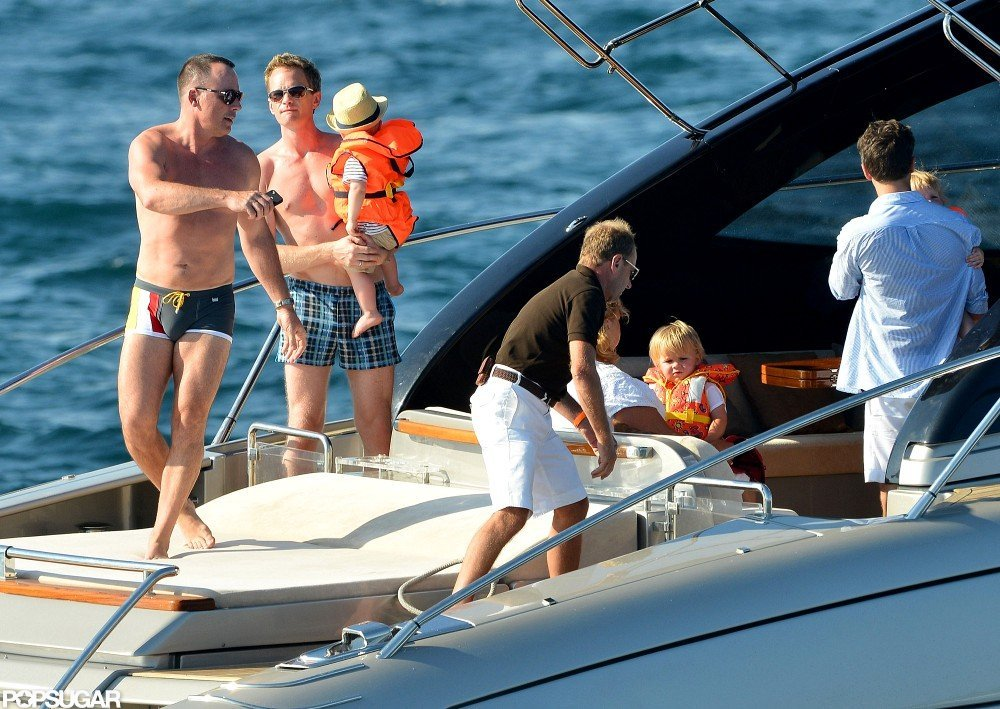 David Furnish, Elton John, Neil Patrick Harris, David Burtka, and the kids spent the day boating in Saint-Tropez.