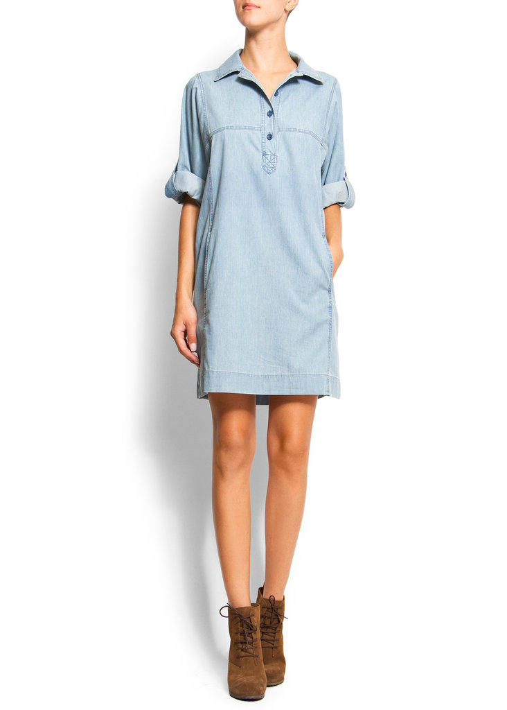 It's supercasual, but with a printed belt and a serious wedge, you'll have yourself a much more formalized kind of denim shirtdress. Mango Henley Shirt Dress ($35, originally $70)