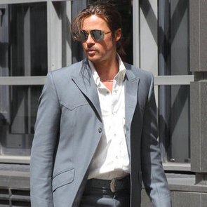 Brad Pitt With a Ponytail on Set in London