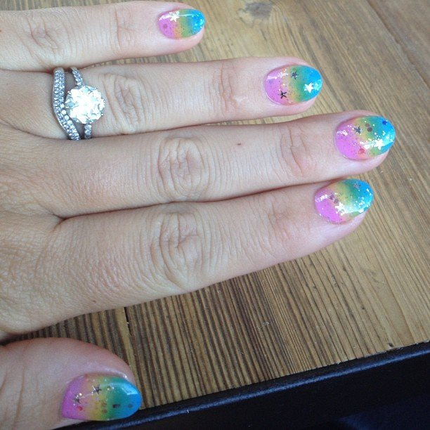 Busy Philipps showed off her rainbow nail art. Source: Instagram user busyphilipps