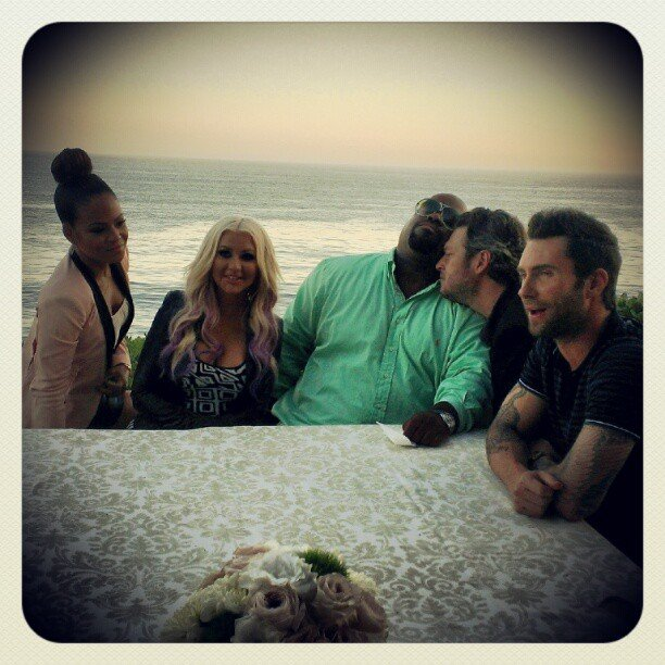 Christina Milian spent a day at the beach with her The Voice costars Christina Aguilera, Cee Lo Green, Blake Shelton and Adam Levine. Source: Instagram user christinamilian