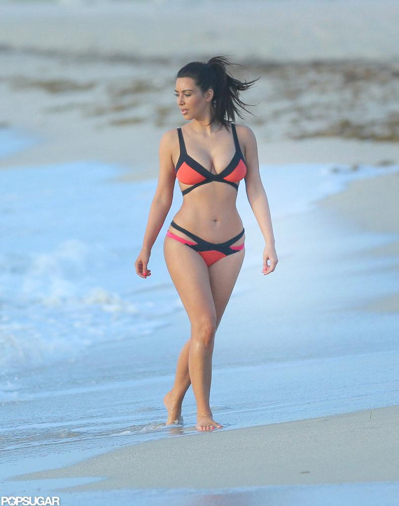She wore a colorful Agent Provocateur bikini on Miami Beach in July 2012.