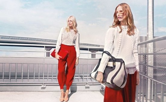 Chunky white knits and statement red pants make us long for Fall in Chloé's newest campaign.