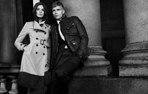 The iconic Burberry trench makes a slick appearance in the brand's Black Label Fall '12 campaign.