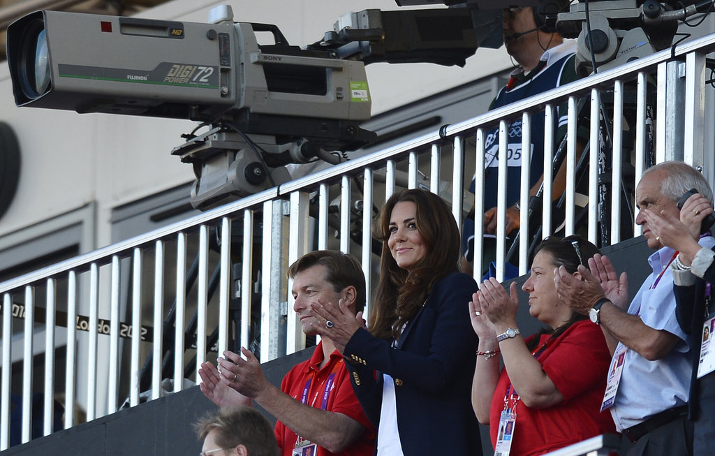 Kate Middleton clapped at the women's hockey semifinal between Argentina and Team GB at the Olympics in London.