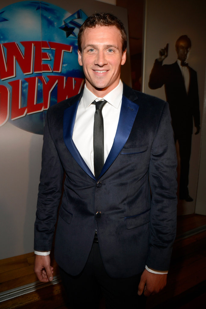 Ryan Lochte wore a black and blue suit.