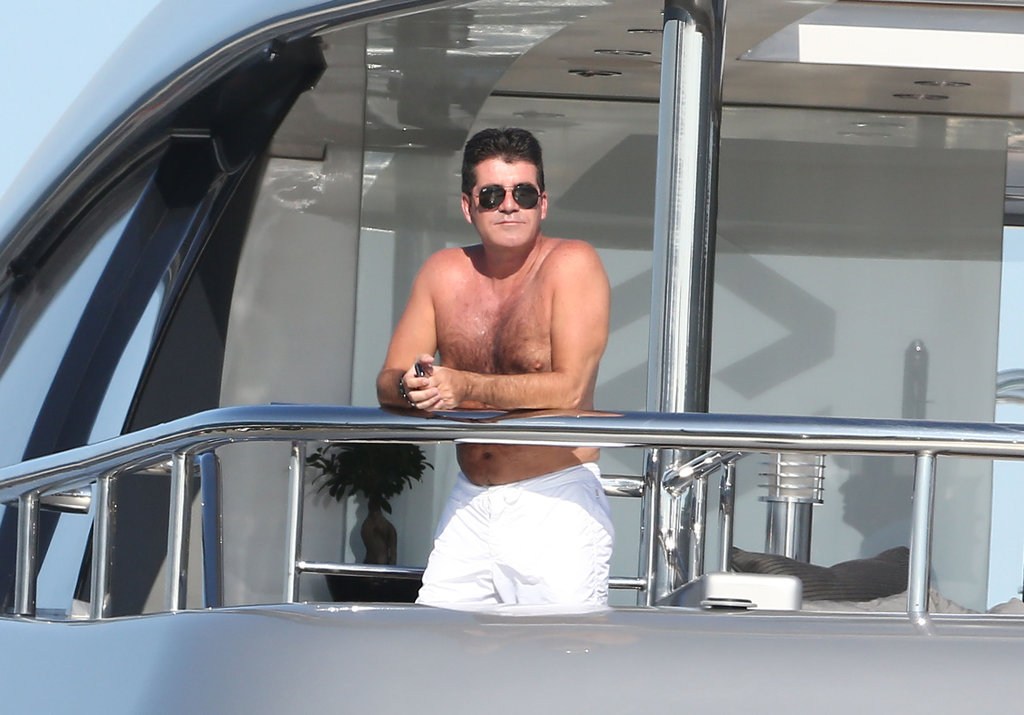 Simon Cowell wore sunglasses on the yacht.
