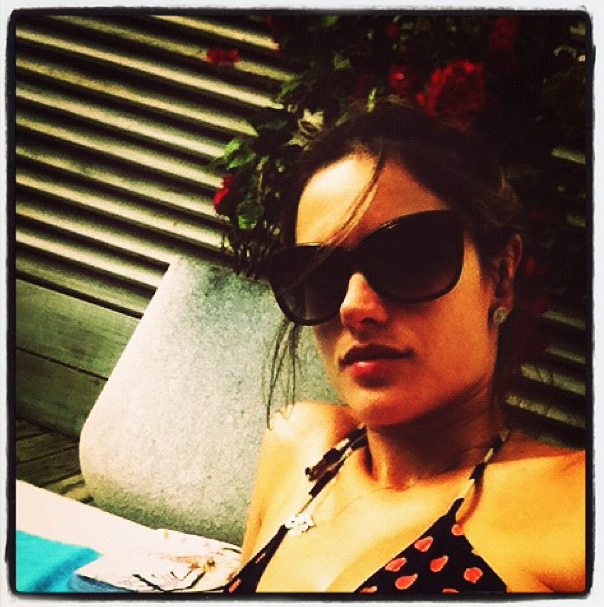 Alessandra Ambrosio lounged in a bikini.  Source: Instagram user alecambrosio
