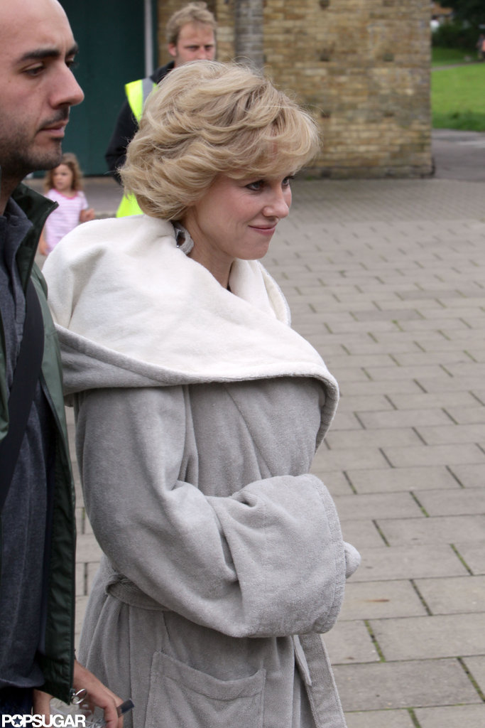 Naomi Watts wore a robe on the set of Diana.