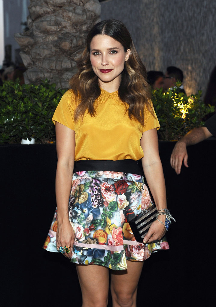 Sophia Bush wore a printed skirt to the InStyle Summer bash in LA.