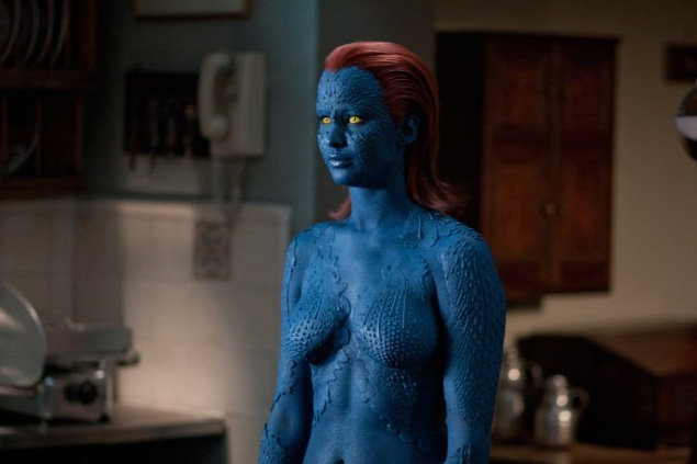 Jennifer Lawrence looked bold in blue as Mystique in X Men: First Class in 2011.