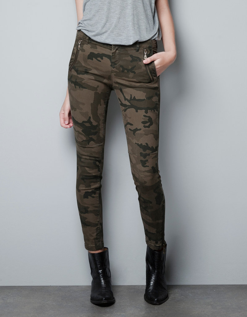 The zip detail on these skinny trousers add a new level of badass. Zara Camouflage Trousers ($60)