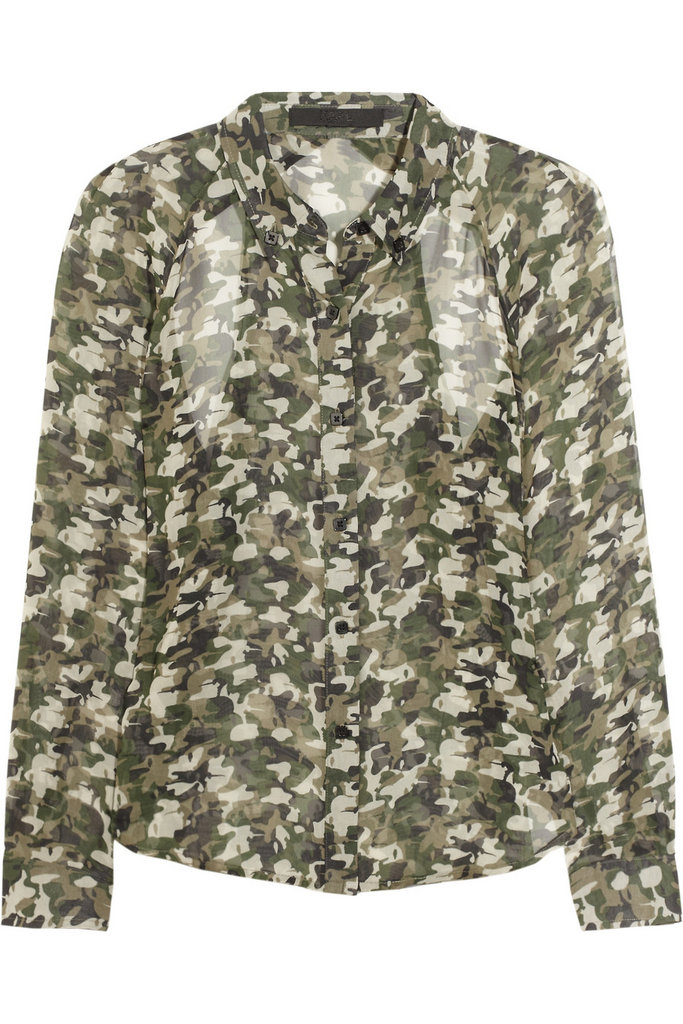 Tuck this floaty camouflage-print blouse into a pencil skirt for a cool, slightly edgy workday look. Karl Berdina Camo-Print Blouse (approx $232)