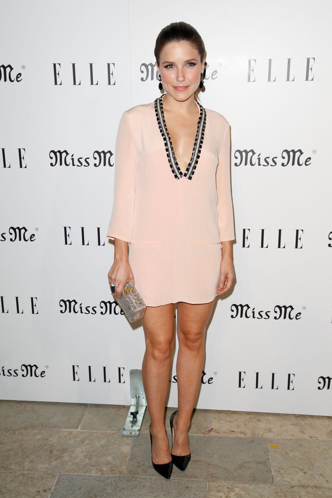 Sophia Bush hit the Elle and Miss Me party in a sexy, seasonal Erin by Erin Fetherston tunic dress.