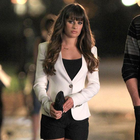 Lea Michele Wearing White Blazer For Glee