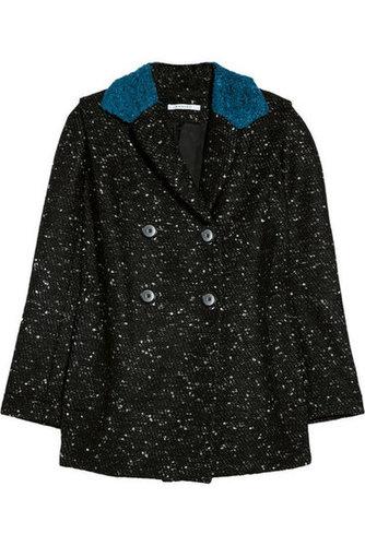 Carven|Contrast-collared bouclé coat|NET-A-PORTER.COM