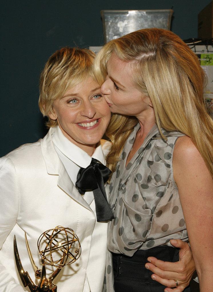 Portia kissed Ellen after her Emmy win in June 2007.