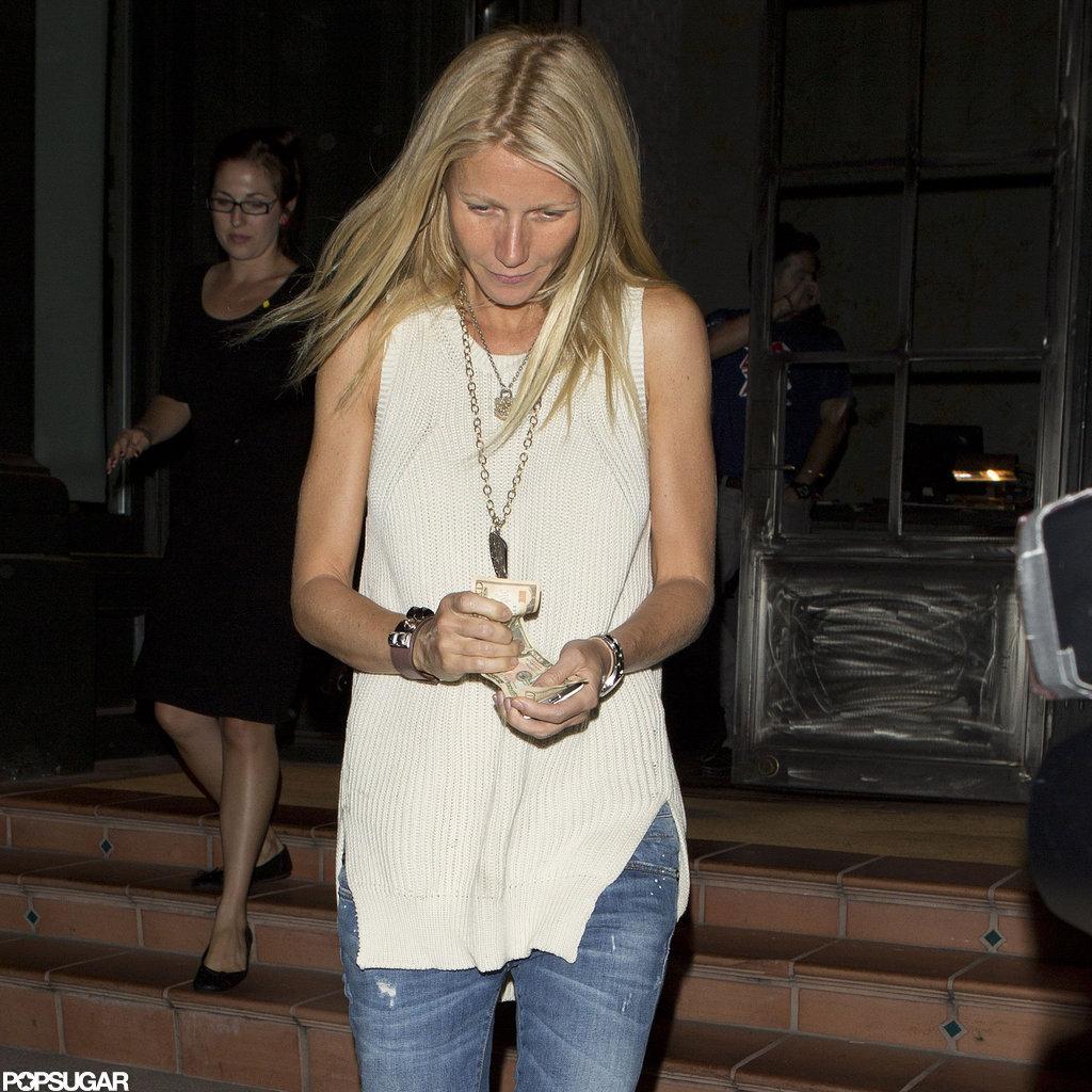 Gwyneth Paltrow had her hair down.