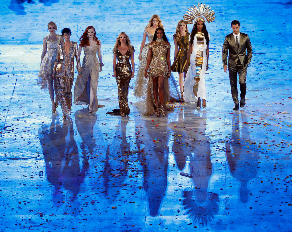English supermodels including Georgia May Jagger, Lily Cole, Kate Moss, Naomi Campbell and Stella Tennant wowed the crowd at the London Olympics Closing Ceremony on August 12.