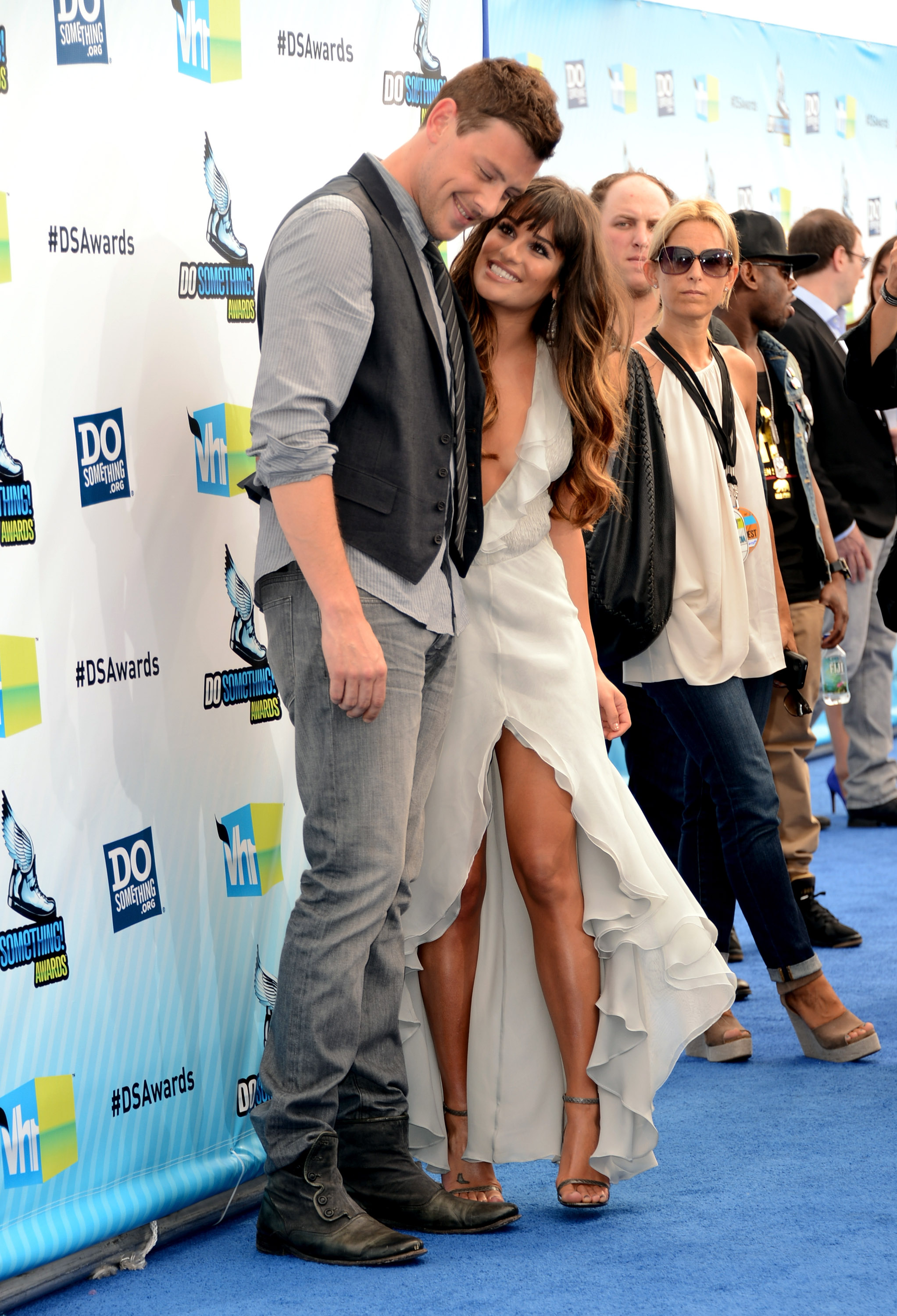 Lea Michele and Cory Monteith flirted on the blue carpet.