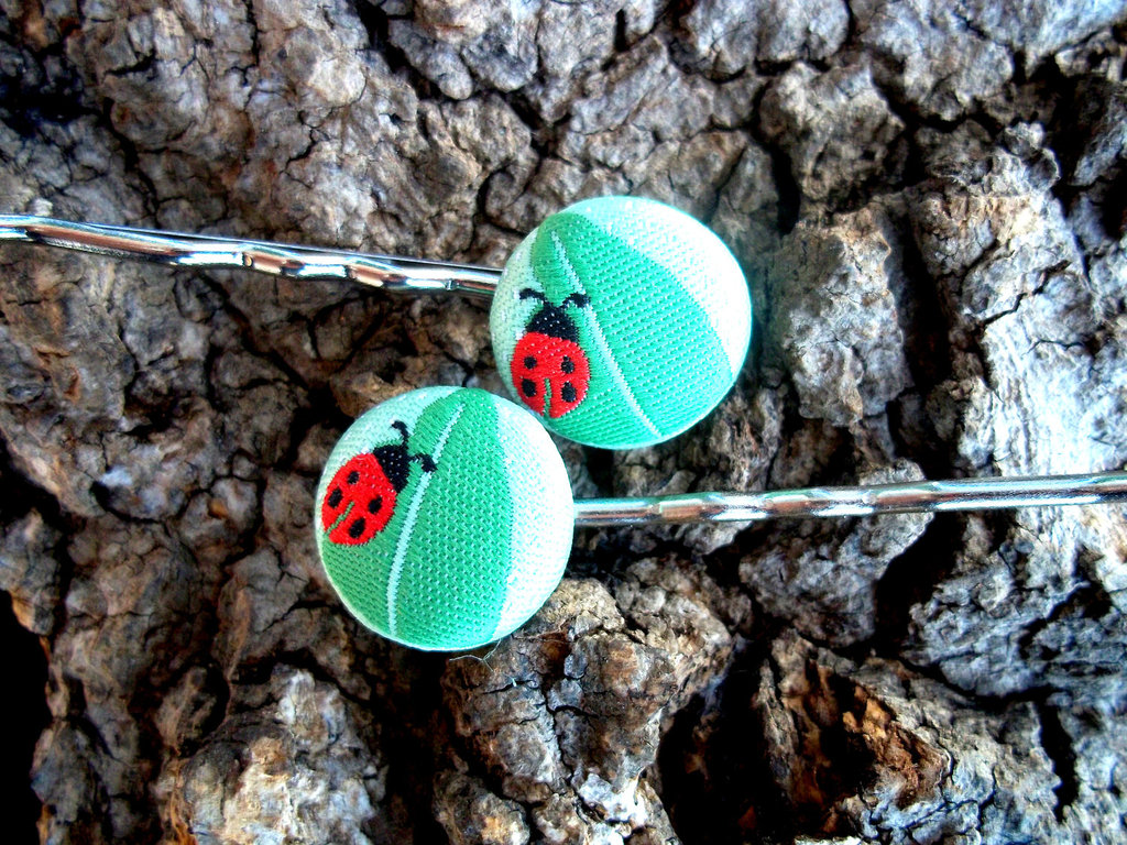Fabric Covered Button Bobby Pins ($5)