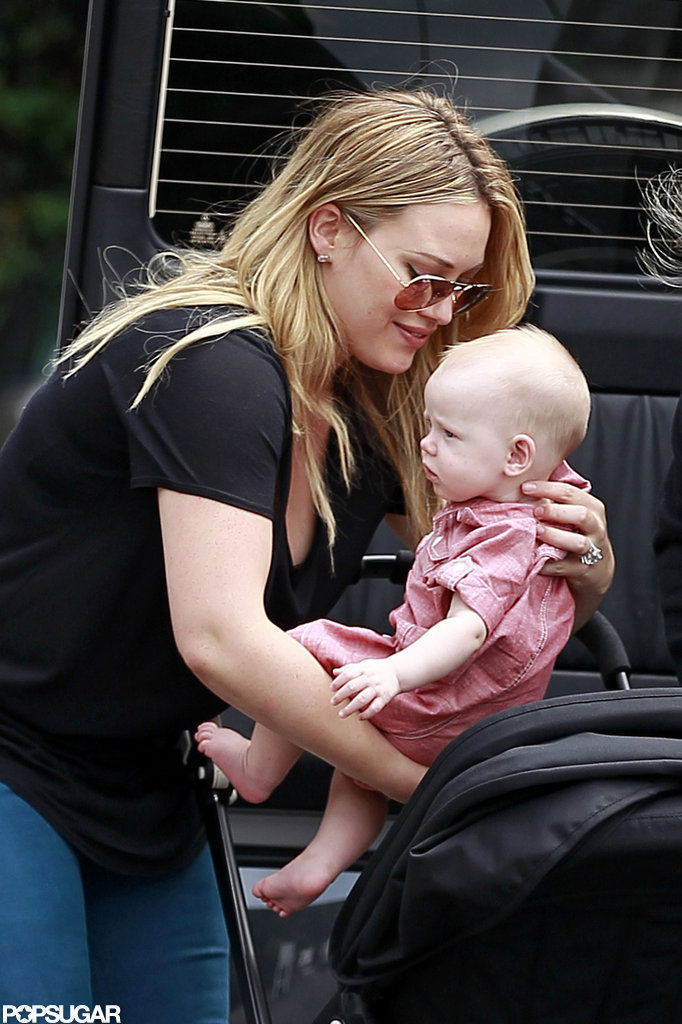 Hilary Duff smiled as she put Luca Comrie in his stroller.