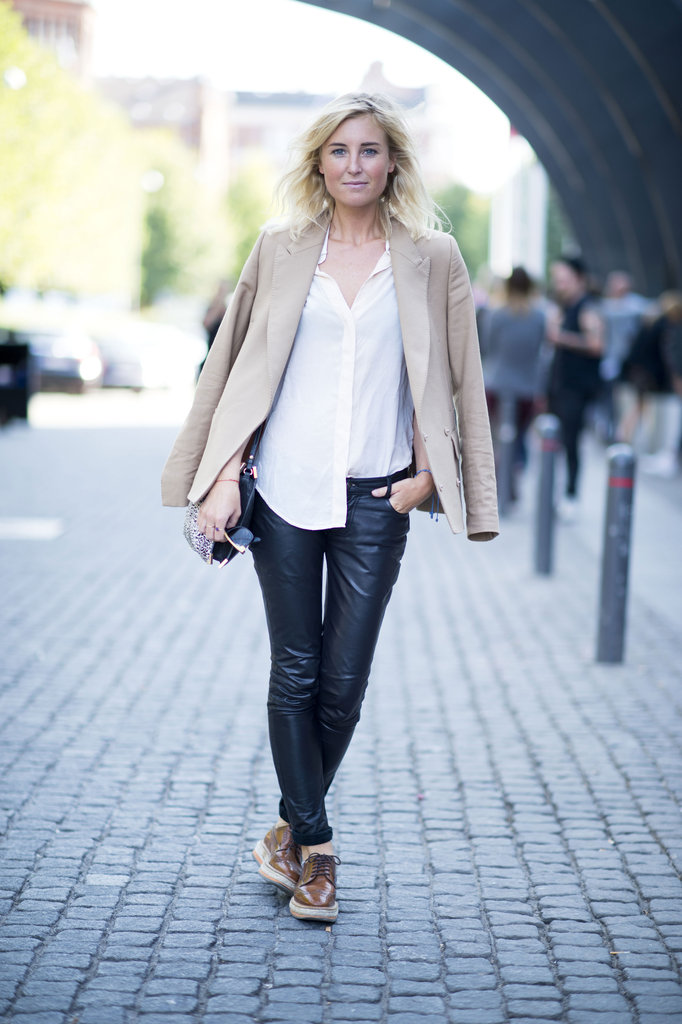 We'll forever love camel-colored anything — plus, the neutral hue is as classically Fall as you can get. Extra points for offsetting her blazer with leather bottoms. Source: Adam Katz Sinding