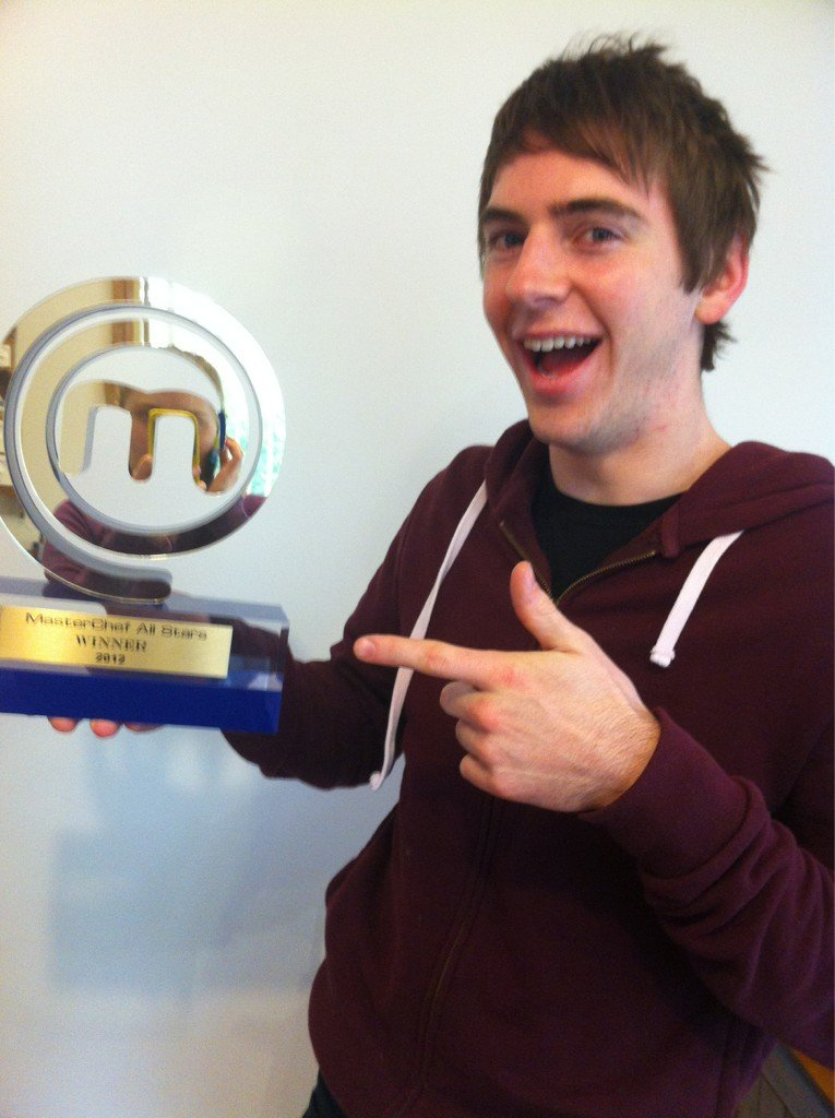 MasterChef All Stars winner Callum Hann finally received his MasterChef trophy! Source: Twitter user callumskitchen