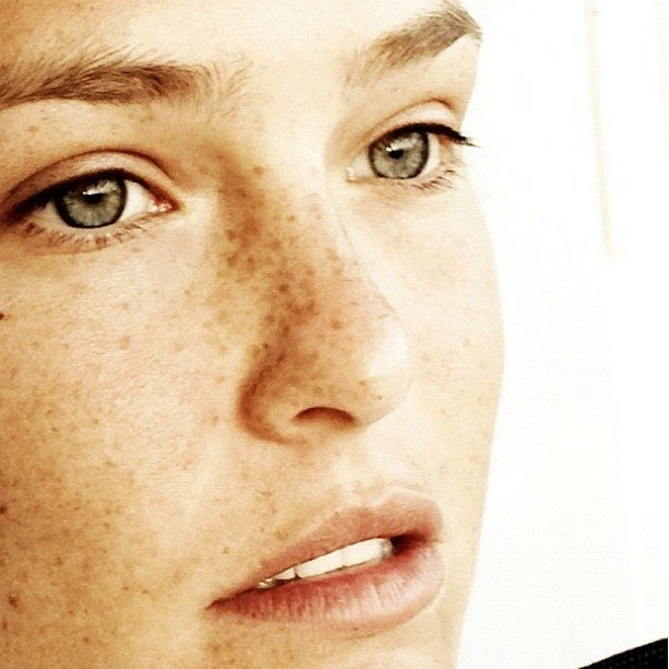 Could she get any more gorgeous? Model Bar Refaeli bared her beautiful freckles in this very close up candid snap.