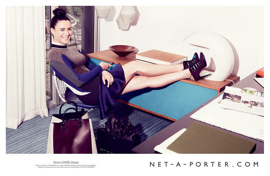 Street-style photographer Garance Doré kicks back in Stella McCartney for luxe online retailer Net-a-Porter's Fall ads.