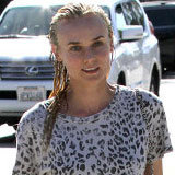 Shop Diane Kruger's Leopard Tee and Lace-Up Moccasins Now