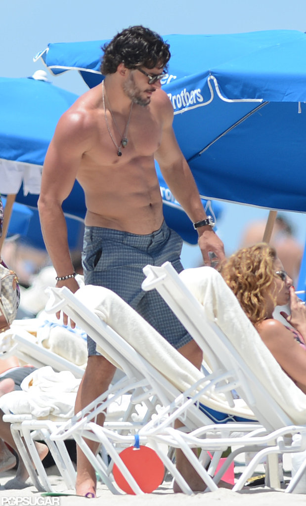 His toned body was on display during a Miami beach day in June 2013.