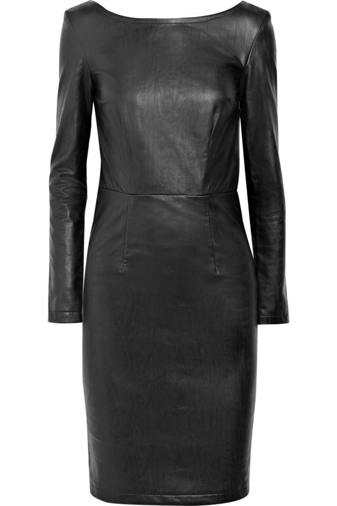 This dress may be conservative up top, but in a leatherlike finish it's totally sexy.  Karl Dahli Faux Leather Dress ($290)