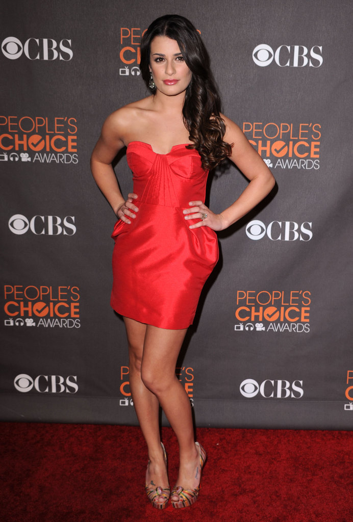 Lea looked red-hot in a Nuj Novakhett mini at the 2010 People's Choice Awards.