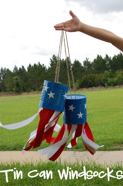 Patriotic Tin Can Windsocks
