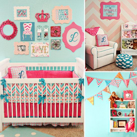 A Bold Aqua-and-Pink Baby Girl&#03