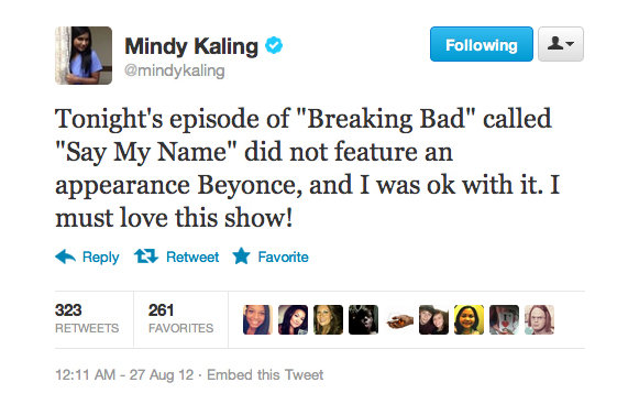 Mindy Kaling gave Breaking Bad a major compliment.
