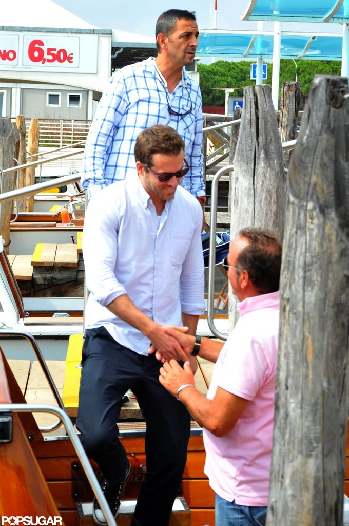 Ryan Reynolds got into a Venice water taxi.