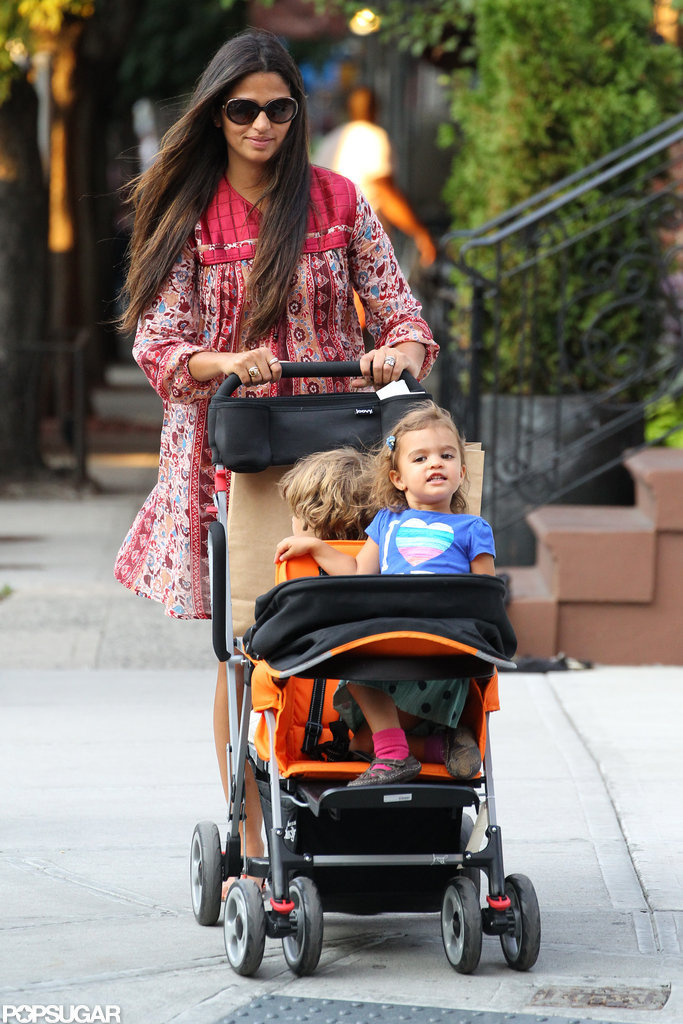 Camila Alves watched over her kids, Levi and Vida, during a stroll around NYC.