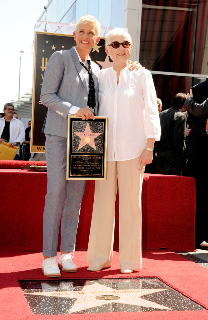 Ellen DeGeneres and her mom, Betty, posed together on the Hollywood Walk of Fame.