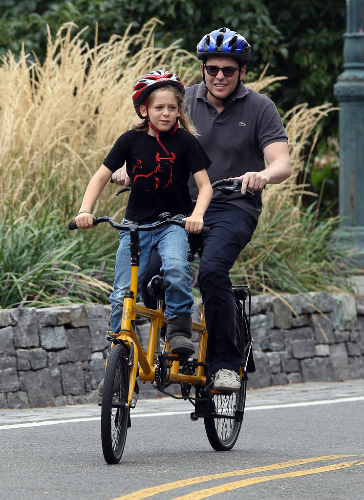 Matthew Broderick and son James Wilkie shared a bike for a ride around NYC on Monday.