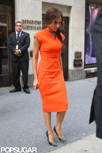 Victoria Beckham wore orange.