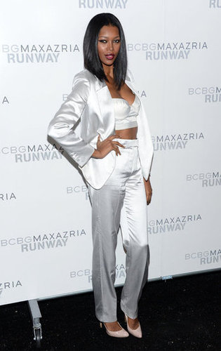 While Jessica White's silky bustier-style crop top injected a serious dose of sex appeal, it was her white suit that offered up a more polished finish at BCBG Max Azria.