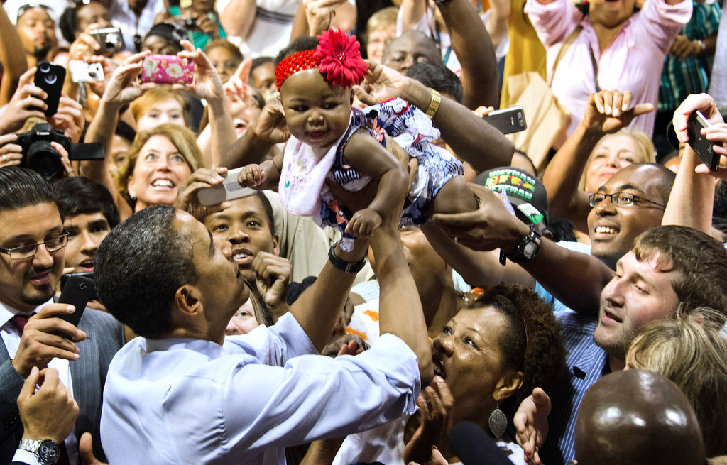 Barack Obama pulled a little girl out of a crowd of Orlando, FL, supporters last month.