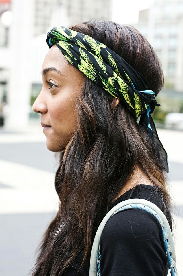 Sometimes, all you need to perfect a style is a pretty printed scarf. Photo by Caroline Voagen Nelson