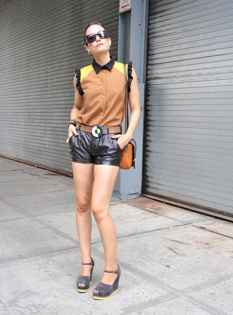 Leather shorts gave a colorblocked topper a dose of Fall styling.